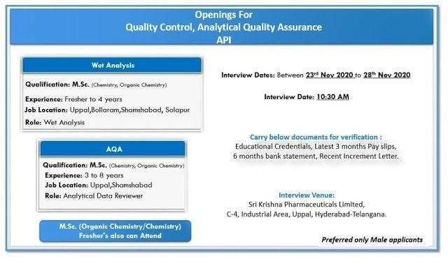 Sri Krishna Pharma | Walk-in for Freshers and Experienced on 23rd to 28th Nov 2020
