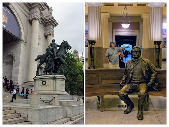 Two statues of Teddy Roosevelt at the American Museum of Natural History