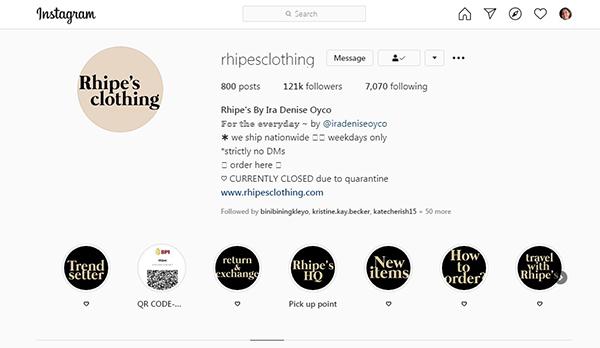 Rhipe's Instagram page