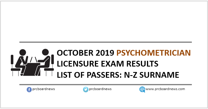 N-Z PASSERS: October 2019 Psychometriciaan board exam result
