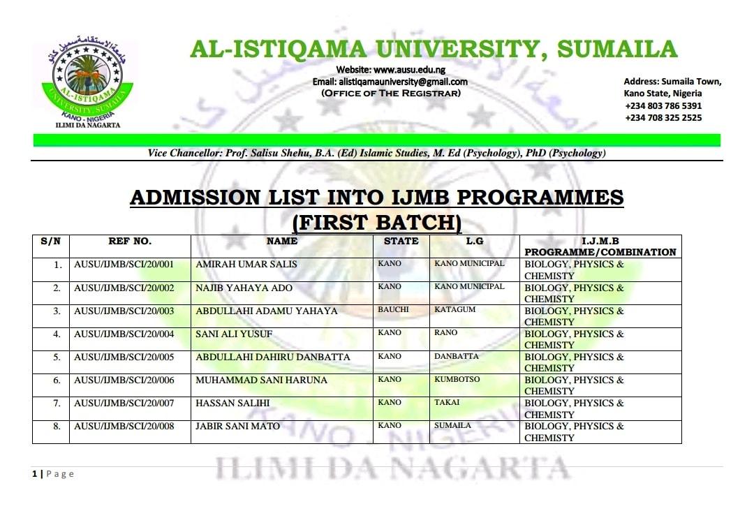Al-Istiqamah University IJMB Admission List 2020/2021