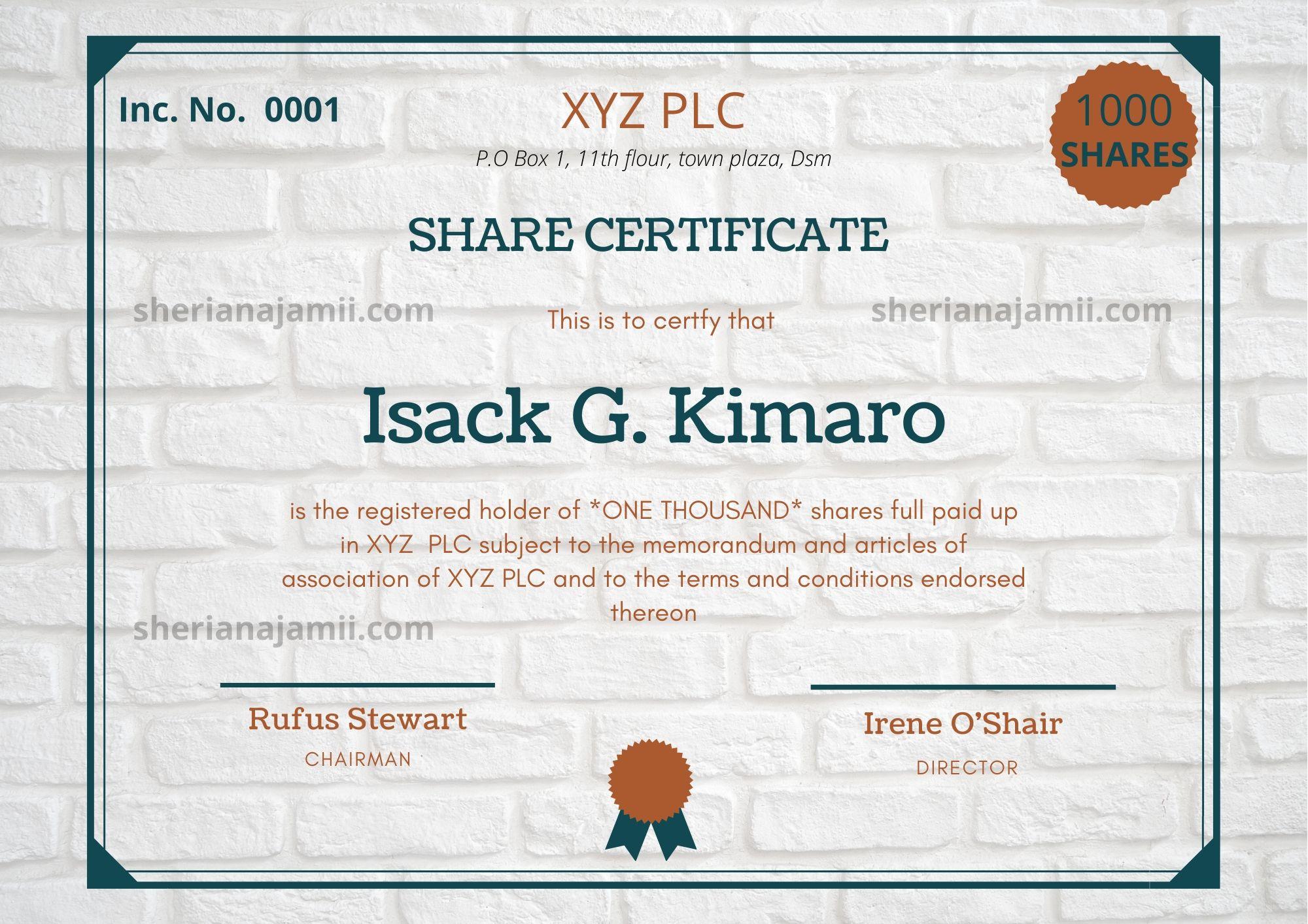 Shareholder Certificate Template