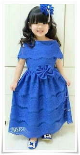 6. Baju kebaya anak full brokat long dress warna biru