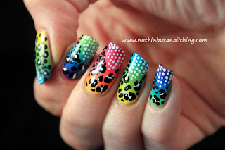 gradient polka dot nail art