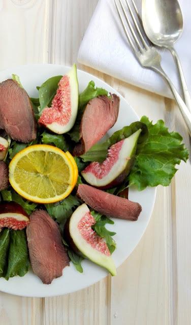 salade gerookte ganzenborst vijg sinaasappeldressing