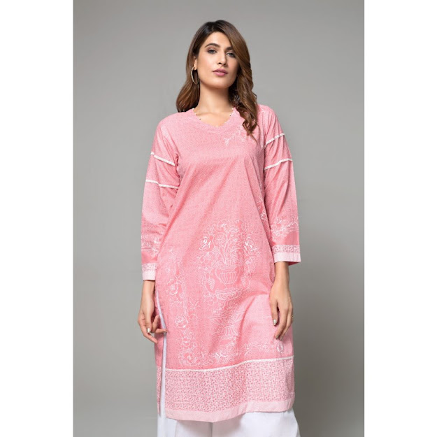 Gul Ahmed ready to wear kurti collection pink color