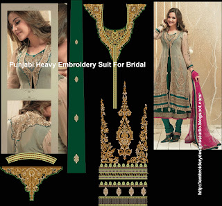 Punjabi  embroidery for bridal suit