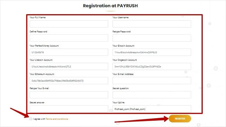 Регистрация в PayRush 2