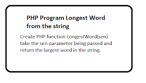 PHP Program Longest Word from the string