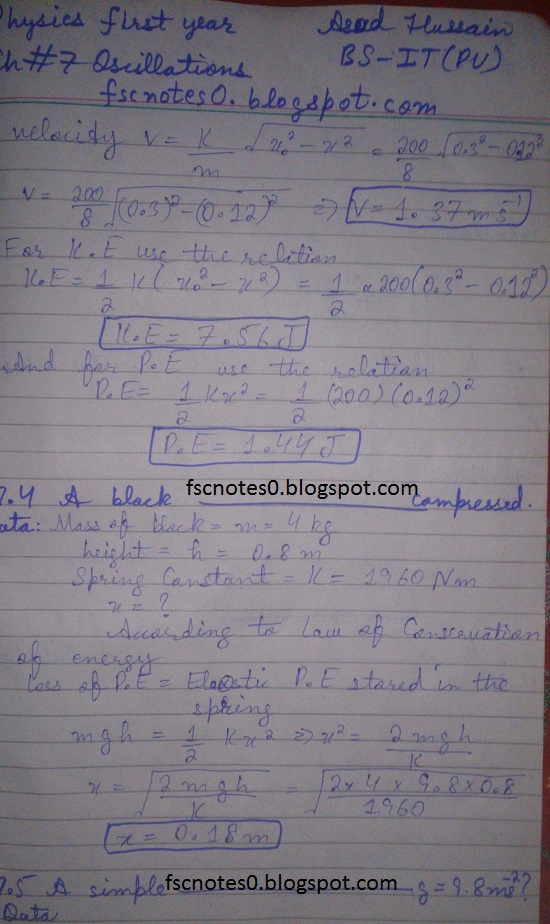 F.Sc ICS Notes: Physics XI: Chapter 7 Oscillations Numerical Problems Asad Hussain 2