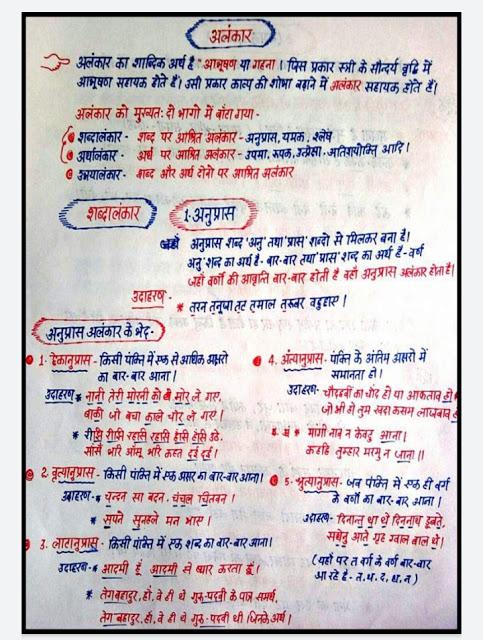 #HindiGrammer - अलंकार टॉपिक पर आधारित Short notes