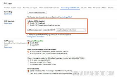 Langkah Pertama Mengatur POP Gmail