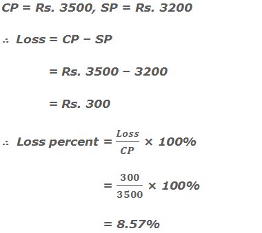 CP = Rs. 3500, SP = Rs. 3200 ∴  Loss = CP – SP  = Rs. 3500 – 3200  = Rs. 300 ∴  Loss percent = Loss/CP × 100%   = 300/3500 × 100%   = 8.57%