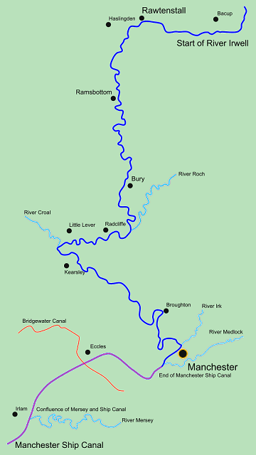 The river course of River Irwell