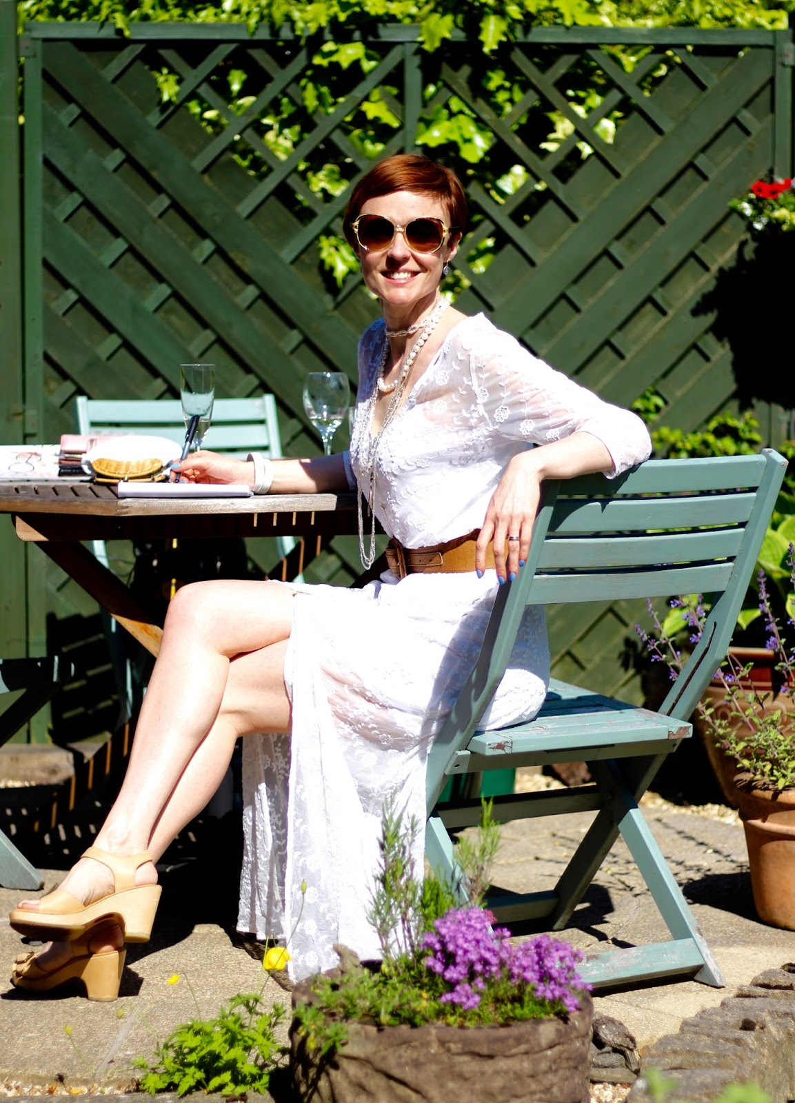 Fake Fabulous | White lace maxi dress, over 40...3 ways! #PPP 4