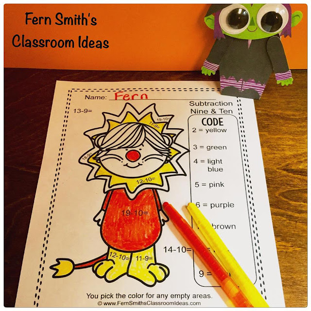 Fern Smith's Classroom Ideas Color By Numbers Halloween Costumed Kids Addition and Subtraction Bundle at TpT.