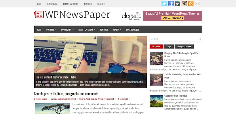 WPNewsPaper Free Blogger Template