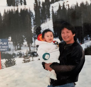 Childhood picture of Thia Megia with her father