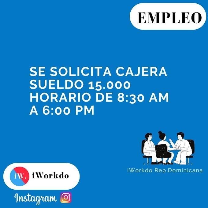 Se solicita cajera sueldo 15.000 Horario de 8:30 Am a 6:00 Pm