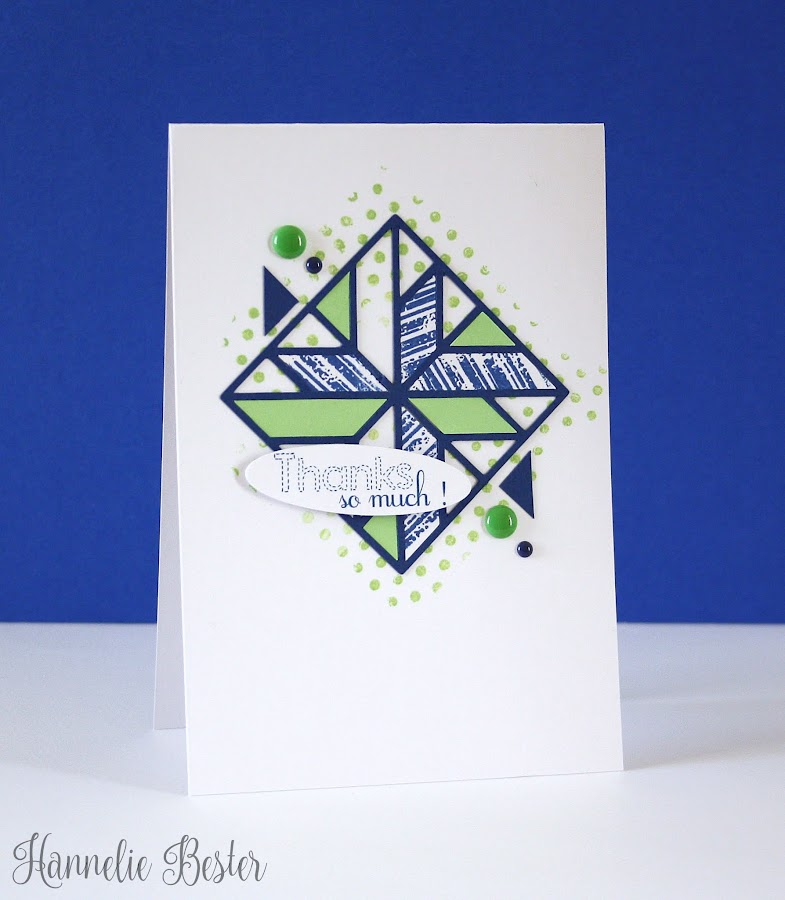 quilted thank you card with inlaid dies