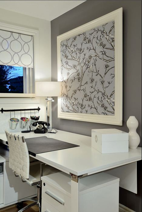 wall paper as art white lacquer desk