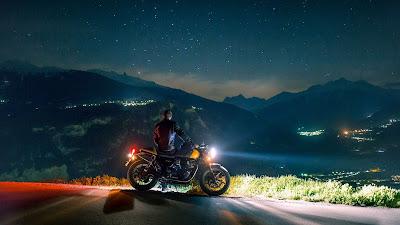 City, Night sky, Motorcyclist, Man, Landscape