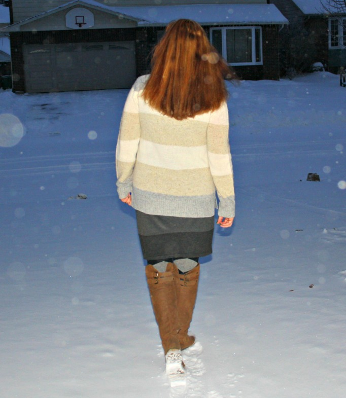 shoe dazzle brown boots, grey skirt cream sweater