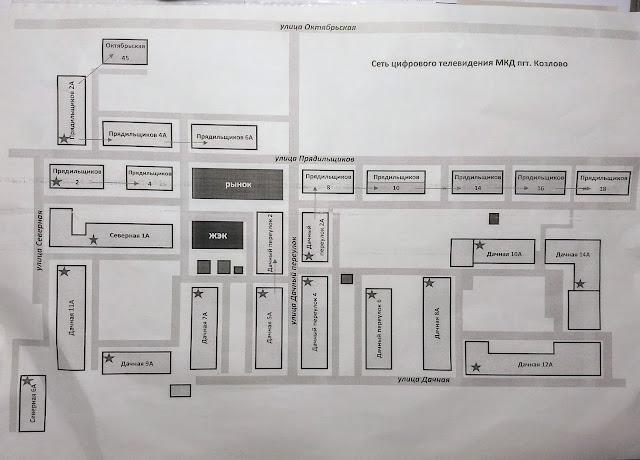 Карта кабельного тв многоквартирных домов пгт Козлово