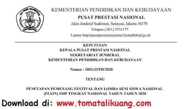 sk pemenang fls2n smp tingkat nasional tahun 2020 secara daring pdf tomatalikuang.com