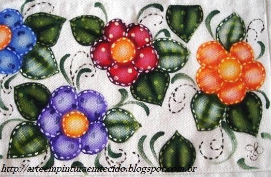 pintura em tecido patch apliqué folk art