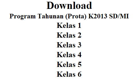 Program Tahunan (Prota) K2013 Kelas 1 Hingga Kelas 6 SD/MI