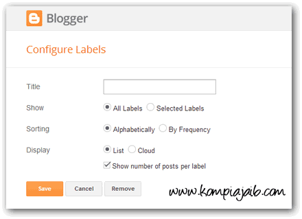 Konfigurasi Widget Label