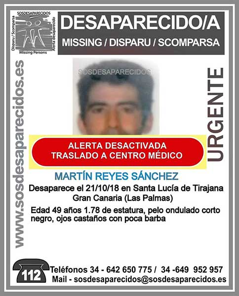 Localizan y trasladan a centro médico a Martín Reyes Sánchez, hombre hombre que se encontraba como desaparecido en Santa Lucía de Tirajana, Gran Canaria