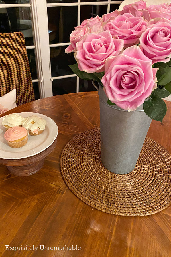 Pink Roses In A Galvanized Tin Vase