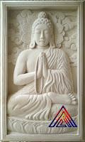 Relief batu alam paras jogja/ paras putih motif budha