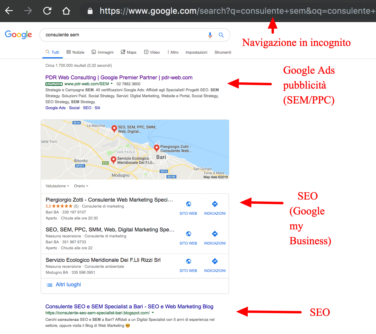 SERP: SEO locale, SEA e Google my Business