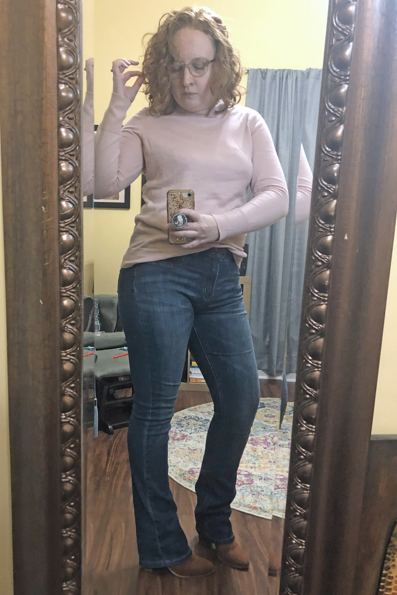 bootcut jeans and sweater