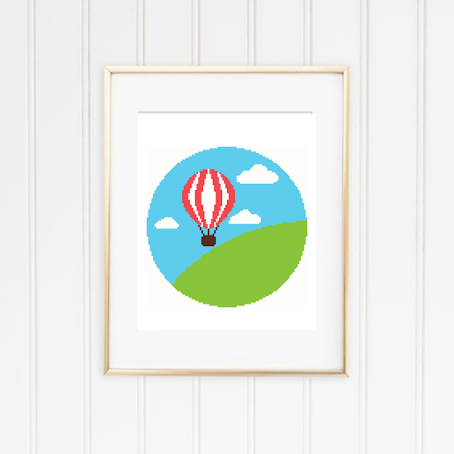 Hot Air Balloon Landscape Cross Stitch Pattern