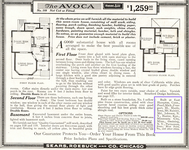 black and white rendering of floor plan in catalog for Sears Avoca 1918