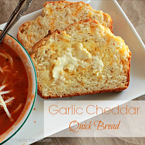 Garlic Cheddar Quick Bread from Table for Seven