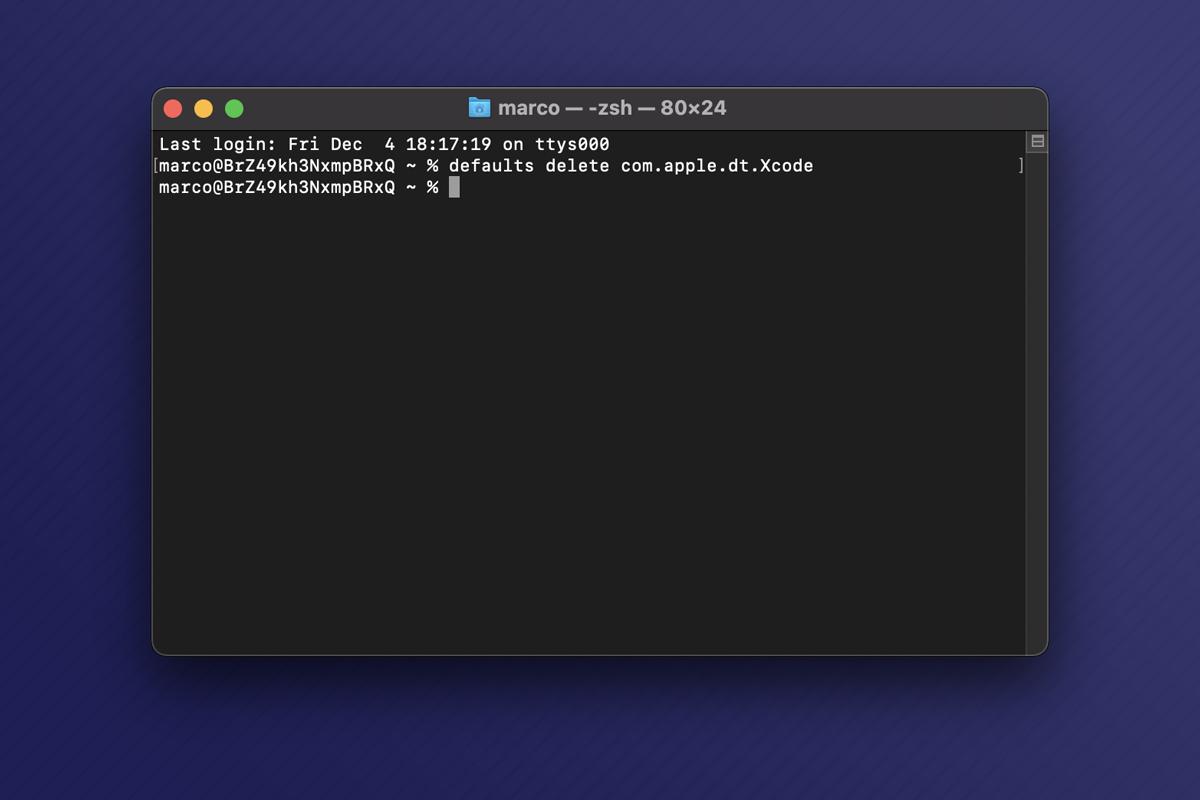Come resettare le impostazioni di Xcode