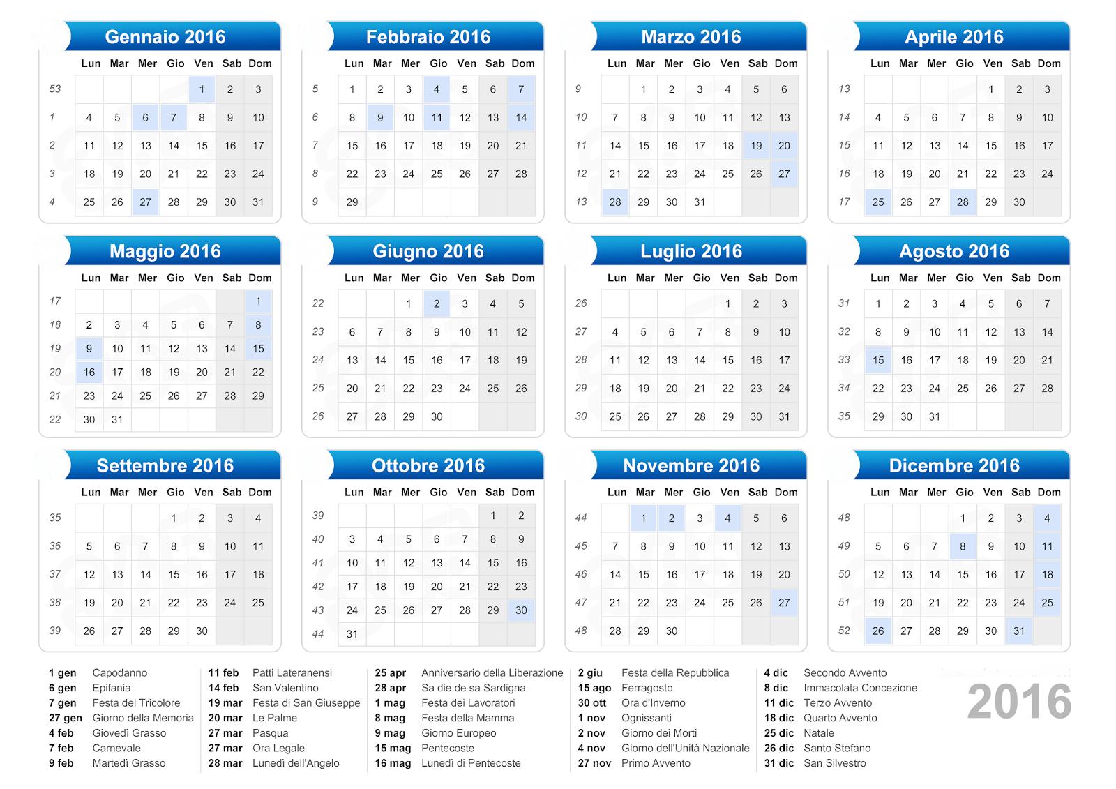 Calendario Con Giorni Festivi.Calendario Calendario 2016 Con Giorni Festivi E Ponti