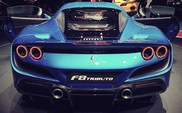 blue-ferrari-f8-tributo-rear-exhaust