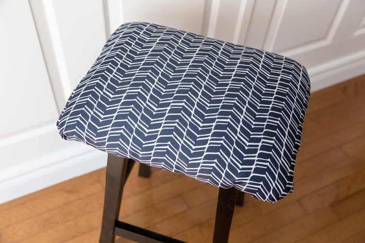 DIY | Stool | square | cover | fabric | dark blue | comfortable | easy | tutorial