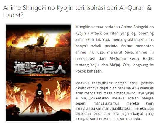 Beberapa Cocoklogi anime yang membuat heboh -  Shingeki no Kyojin (Attack on Titan) dengan kitab suci Al-Qur'an dan Haddist