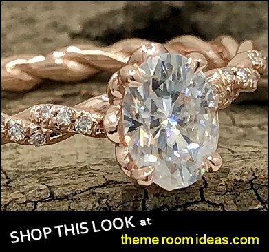 Moissanite Ring - Rose Gold Diamond Twisted Shank Engagement Ring