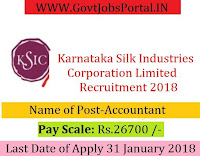 Karnataka Silk Industries Corporation Limited Recruitment 2018 –Accountant
