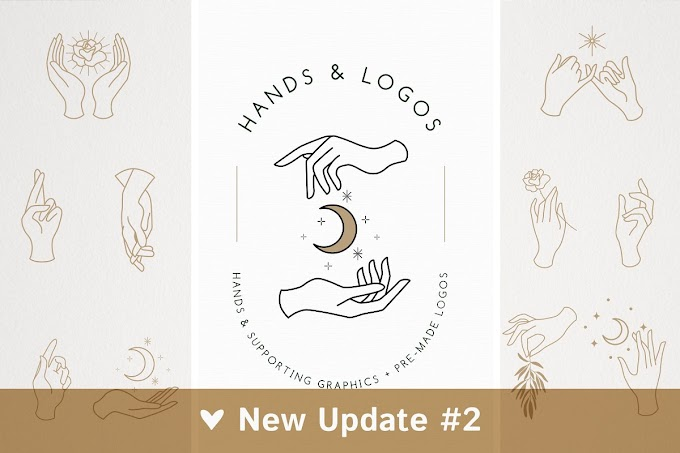 Elegant Hands Graphics in Various Poses, Pre-Made Logo Templates