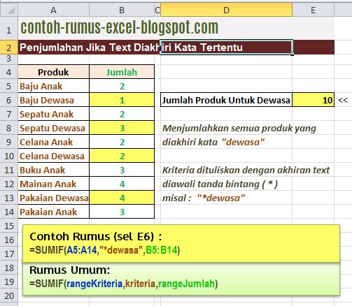 Contoh Rumus Excel Penjumlahan Kriteria Text Akhir