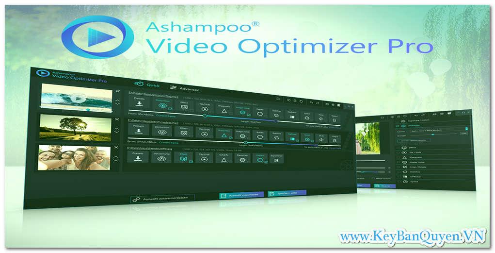 Download và cài đặt Ashampoo Video Optimizer Pro 1.0.5 Full Key, Phần mềm tăng cường, ổn định, khử nhiễu Video chuyên dụng.